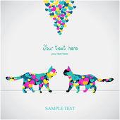 Dwa koty kochają kolorowe karty — Wektor stockowy