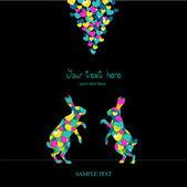 Dva zajíci, láska barevné karty. — Stock vektor