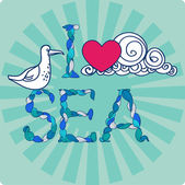 Declaration of love by sea, with seagull — Stock Vector