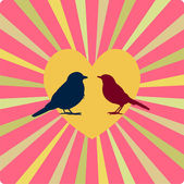 Two birds in love, in yellow heart — Stock Vector
