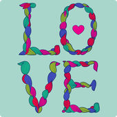 Love colorful title, with stylized hearts. — Stock Vector
