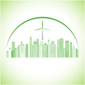 Abstract Green panorama city. — Stock Vector