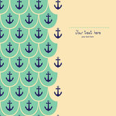 Sea theme vector card template with anchor. — Vettoriale Stock