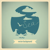 Vintage sea background with seagulls. — Stock Vector