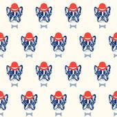 Bulldog francés de patrones sin fisuras — Vector de stock
