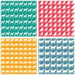 Animals silhouettes patterns — Vettoriale Stock