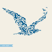 Seagull made of seagulls — Stock Vector