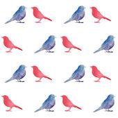 Watercolor birds seamless pattern. — Stock Vector