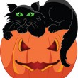 Stock Vector: Black cat with a halloween pumpkin
