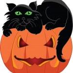 Black cat with a halloween pumpkin — Stock Vector