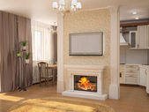 Interior with fireplace — Stock Photo