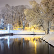 Snow on trees in Riga park and lighthouse — Foto Stock