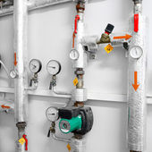 Heating system industrial water pipeline in a boiler room — Stock Photo