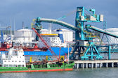 Ships in cargo port. Ventspils terminal, Latvia — Stock Photo