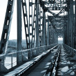 Old vintage railway bridge over river — Stock Photo