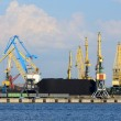Cargo terminal of Riga, Larvia. Wide view with cranes loading co — Stock Photo