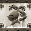 Knight steel hemlet symbol on wood in a frame — Stock Photo #32825161