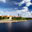 General view on Riga embarkment in bright sunny day, Latvia — Lizenzfreies Foto