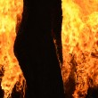 Burning wooden house close-up — Stock Photo