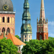 Latvian church towers in Riga — Stock Photo