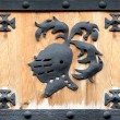 Knight steel hemlet symbol on wood in a frame — Stock Photo #32827335