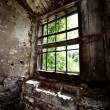 Window in an old broken shed — Stock Photo