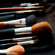 Make-up brushes in dark case — Stock Photo