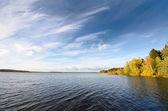 Lake landscape during Fall season — Stock Photo