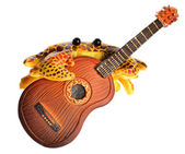 Yellow cute toy crab plaing guitar isolated on white — Stock Photo
