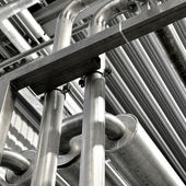 Industrial pipelines and other equipment at the factory — Stock Photo