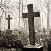 Cross in fog at the cemetary — Stock Photo