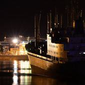 Venspils cargo port by night — Stock Photo