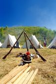 Reconstructed french war camp — Stock Photo