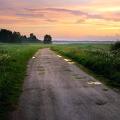 Classic countryside landscape with road against dramatic sunset — Stock Photo