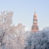 Dome church in Riga and hoar frost on trees by morning, Latvia — Stock Photo