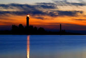 A lighthouse shining at late evening. Riga, Latvia — Stockfoto