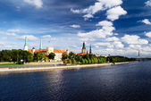 General view on Riga embarkment in bright sunny day, Latvia — Stock Photo