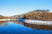 Gauja river valley winter landscape. Sigulda, Latvia — Stock Photo