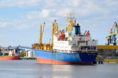 Ships in a cargo port. Ventspils, Latvia — Foto Stock