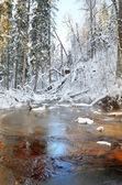 Winter river valley landscape — Stock Photo