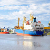 Ships in a cargo port. Ventspils, Latvia — Stock Photo