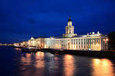 General view on Saint-Petersburg embankment at dusk — Stock Photo