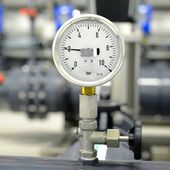 Industrial barometer in boiler room — Stock Photo