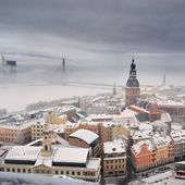 Areal view on Riga in fog, Latvia — Stock Photo