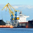 Cargo ship loading in coal cargo terminal — Stock Photo