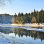 Gauja river valley winter landscape. Sigulda, Latvia — Stock Photo #32832185