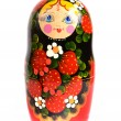Russian traditional toy doll matryoshka isolated — Stock Photo