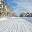 Road in a countryside in sunny winter day. Classic snow covered winter landscape — Foto de Stock
