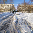 City coverd in snow in winter  — Photo