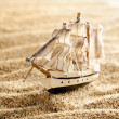 Wooden sail ship toy model in the sea sand close-up — Stock Photo #32836945